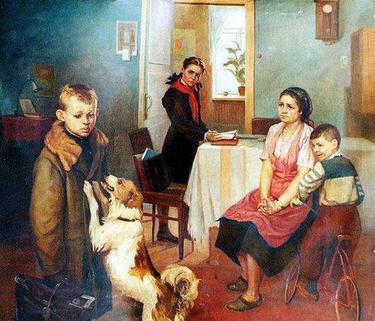 картина Федора Решетникова «Опять двойка»)